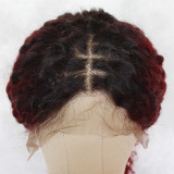 Red Kinky Curly Human Hair Lace Wig 18 Inches