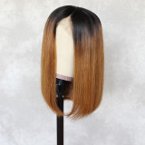 long bob straight human hair wig, 100% unprocessed human hair Lace part wig 360 deep part swiss lace wigs