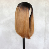 ReadyWig Brown Long Bob Dark Roots Human Hair Lace Wig 16 Inches