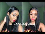 ReadyWig Black Straight Long Bob 13*6 Synthetic Lace Front Wig 16 Inches