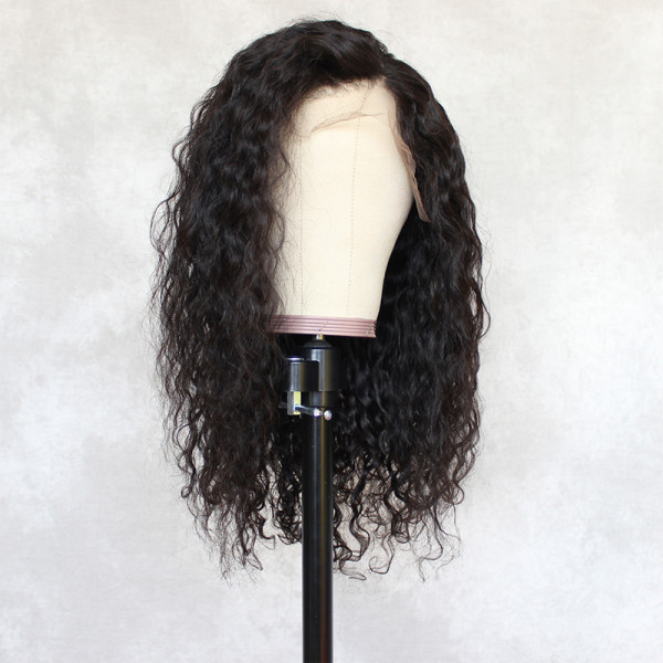 ReadyWig Black Water Wave Human Hair Lace Wig 18 Inches