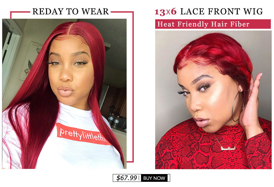 Red Straight 13*6 Lace Front Synthetic Wigs
