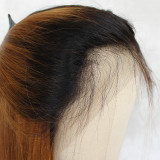 2 tones brown black roots natural straight wigs ombre brown shoulder-length straight lob wig