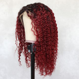 readywig red curly human hair wig with hand-tied lace