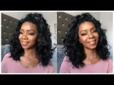 ReadyWig Black Deep Wave Bob Short Hair Synthetic Lace Front Wig 16 Inches