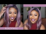 ReadyWig Purple Bob Dark Roots Short Hair Synthetic Lace Front Wig 16 Inches