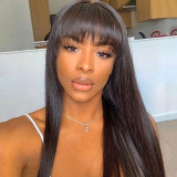 ReadyWig Black Straight Human Hair Lace Front Wig with Bang - Customized