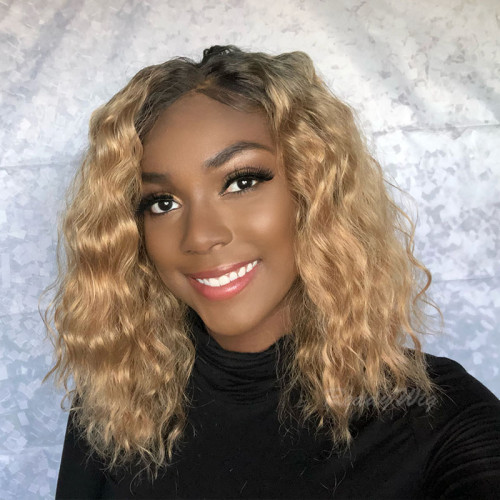 ReadyWig Honey Brown Wavy Short Hair Synthetic Lace Front Wig 16 Inches