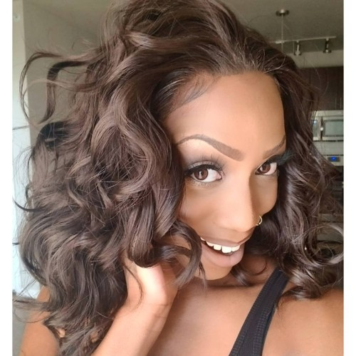 ReadyWig Dark Brown Wavy Short Hair Synthetic Lace Front Wig 16 Inches