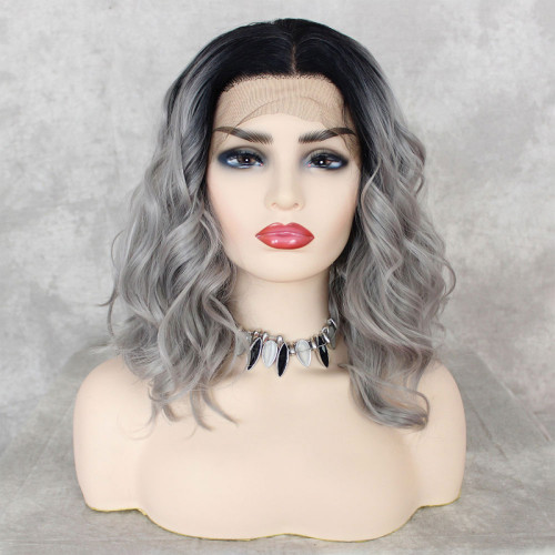 ReadyWig Grey Dark Roots Short Hair Synthetic Lace Front Wig 16 Inches
