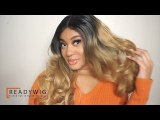 ReadyWig Ombre Blonde Dark Roots Wavy Synthetic Lace Front Wig 24 Inches