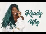 ReadyWig Green Loose Wavy Dark Roots Synthetic Lace Front Wig  24 Inches
