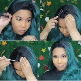 ReadyWig Green Body Wave Dark Roots Synthetic Lace Front Wig 24 Inches