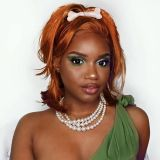 ReadyWig Orange Bob Short Hair Synthetic Lace Front Wig 16 Inches