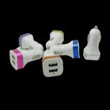 Dual USB Plug Car Charger 5V Adapter Metal Ring