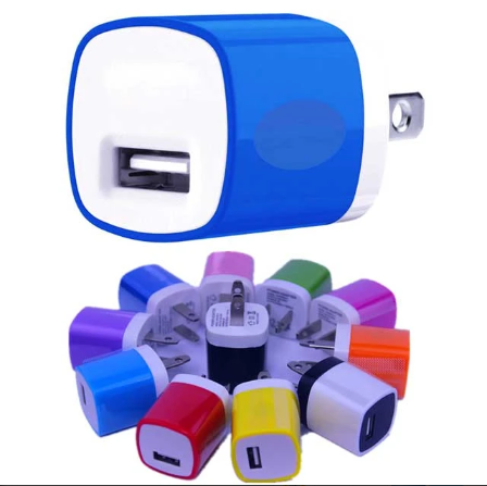 USB Colorful Travel AC Wall Charger 1A single port 5v