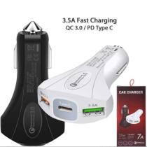 3 Port USB Car Charger QC 3.0 PD Type C Fast Charger 3.5A [PREMIUM AA+]