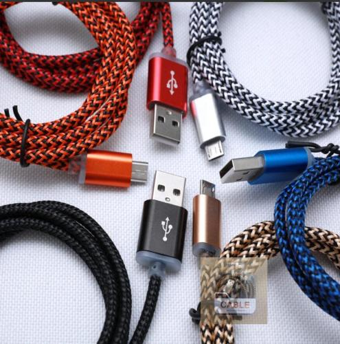 2A Fast Charging Fabric Braided Rugged USB Cable for iPhone Android V8 Type C Devices