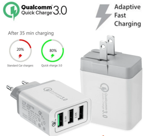 Qualcomm Quick Charger QC3.0 3 USB Port Fast Rapid Wall Charger US EU UK Turbo Travel Adapter Mains Plug