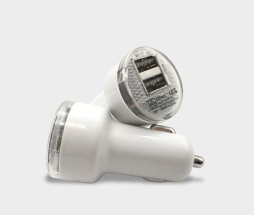1A Dual USB LED Light up Car Charger Adapter
