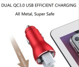 36W/6A [All Metal] Fast Car Charger Adapter  Voltage Display  [Dual QC3.0 Port]