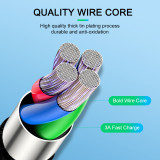 Safe Charging Braided Cable Zinc Alloy Shell Lights Overcharge Protection