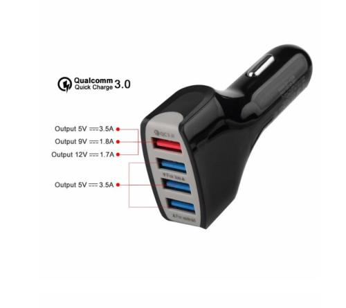 4 Port USB Car Charger QC 3.0 Fast Charger REAL 7A