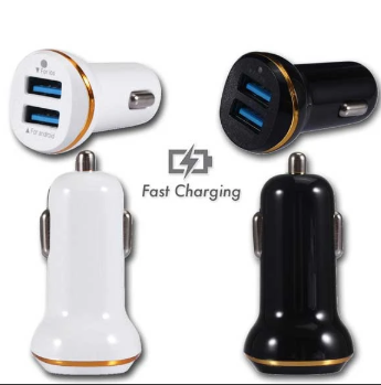 2A 5V Dual USB Port Car Charger with Gold Ring
