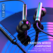 R15 Earphones Strong Cable 3.5mm Volume Control 5D Sound Colorful