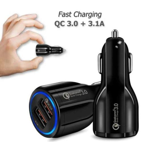Dual USB Car Charger Plug Fast Charging 2A and QC3.0 + 3.1A