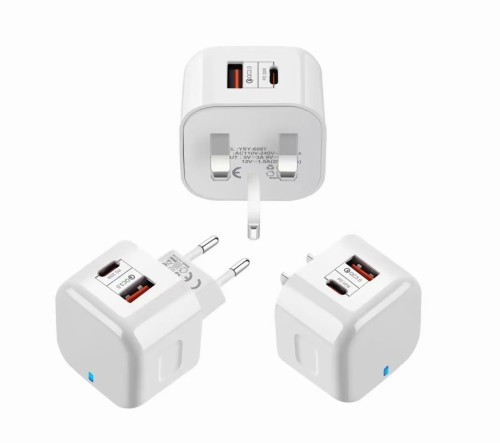Basics Two-Port USB-C + QC3.0 Wall Charger for Tablets and Phones with Power Delivery - White