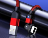 Fast Charging 3A 90 Degree Right Angle Design Gaming iPhone LED Nylon Braided Sync Charge New USB Reversible Data