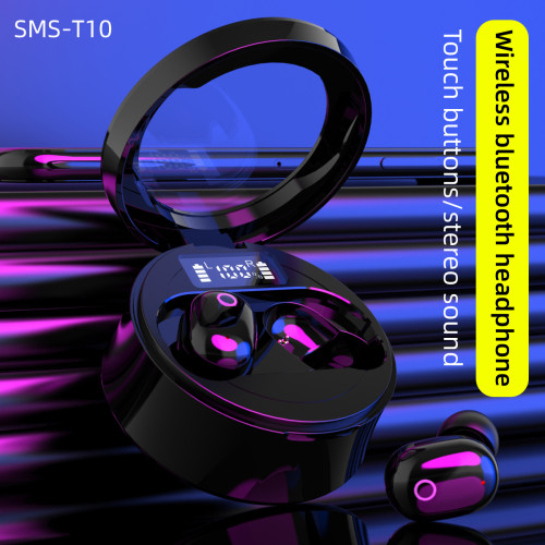 SMS-T10 Bluetooth 5.0 Wireless Earbuds with Wireless Charging Case Stereo Headphones in Ear Built in Mic Headset Premium Sound with Deep Bass for Sport Black