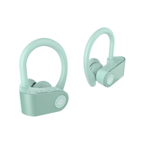 TWS-03 True Wireless Earbuds Sport Bluetooth Headphones with Wireless Charging Case Premium Deep Bass Earphones Over Ear Hooks with Built in Mic Headset for Workout Running