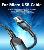 Android Fast Charging & Data Transfering Cable,3A Quick Charging Braided Micro USB Charger Cable