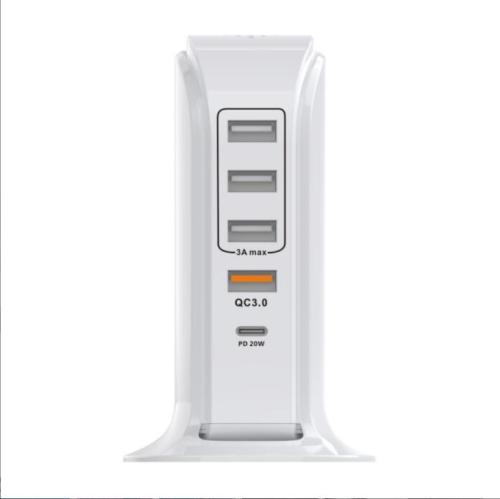 USB Wall Charger,PD-20W 5 Port USB Charging Station,PowerPort 5 Multi USB Charger(PD-20W,QC3.0 and 3A) for Smartphone, Tablet, Headset, and Bluetooth Speaker (White)