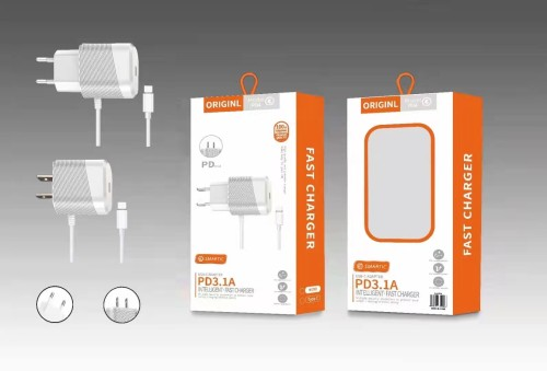 2A USB C Single Port Wall Charger with Cable,PD port Wall Charger Adapter with Cable