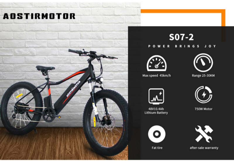 Best fat-tyre electric mountain bike under $1000 Aostirmotor 07-2