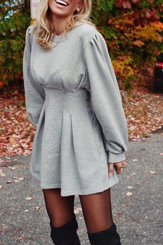 Bomshe O Neck Ruffle Design Mini Dress