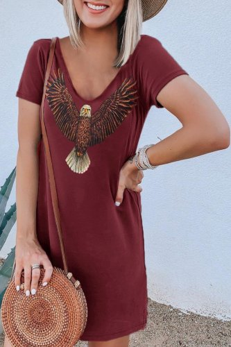 Bomshe Eagle Print Mini Dress(2 Colors)
