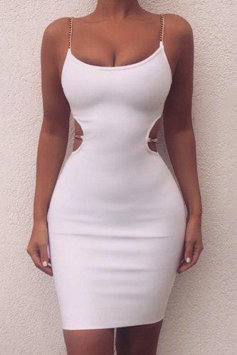 Bomshe Waist Hollow-out White Mini Dress