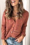 Bomshe V Neck Lace Patchwork Brick Red Cardigan