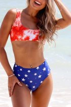 Bomshe Tie-dye Red Two-piece Swimsuit