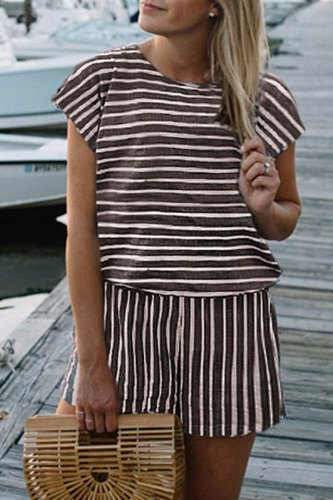 Bomshe Striped Loose Coffee One-piece Romper