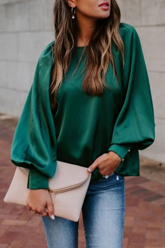 Bomshe Basic Loose Green Blouse(2 colors)