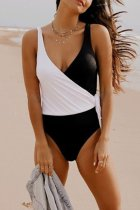 Bomshe Patchwork Black One-piece Swimsuit