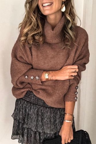 Bomshe Turtleneck Button Brown Sweater