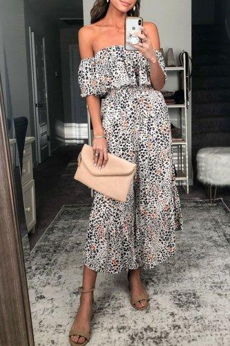 Bomshe Dew Shoulder Leopard Print Jumpsuit