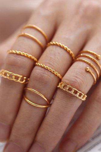Bomshe 8-piece Rose Gold Ring