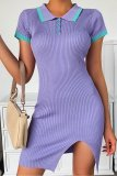 Bomshe Turndown Collar Buttons Design Purple Mini Dress